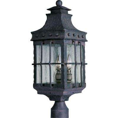 Nantucket 3-Light Country Forge Outdoor Pole/Post Mount