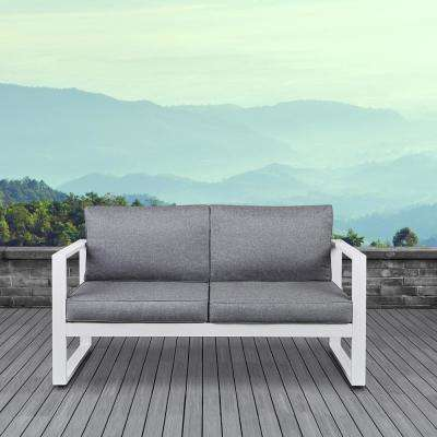 outdoor furniture white. Baltic White Powder Coated Aluminum Outdoor Loveseat With Gray Cushions Furniture W