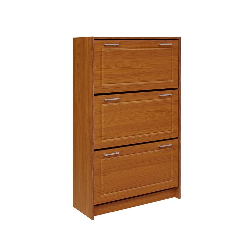 4d concepts 29 in w fruitwood triple shoe cabinet 76153f the home depot - Shoe cabinet for small spaces concept ...