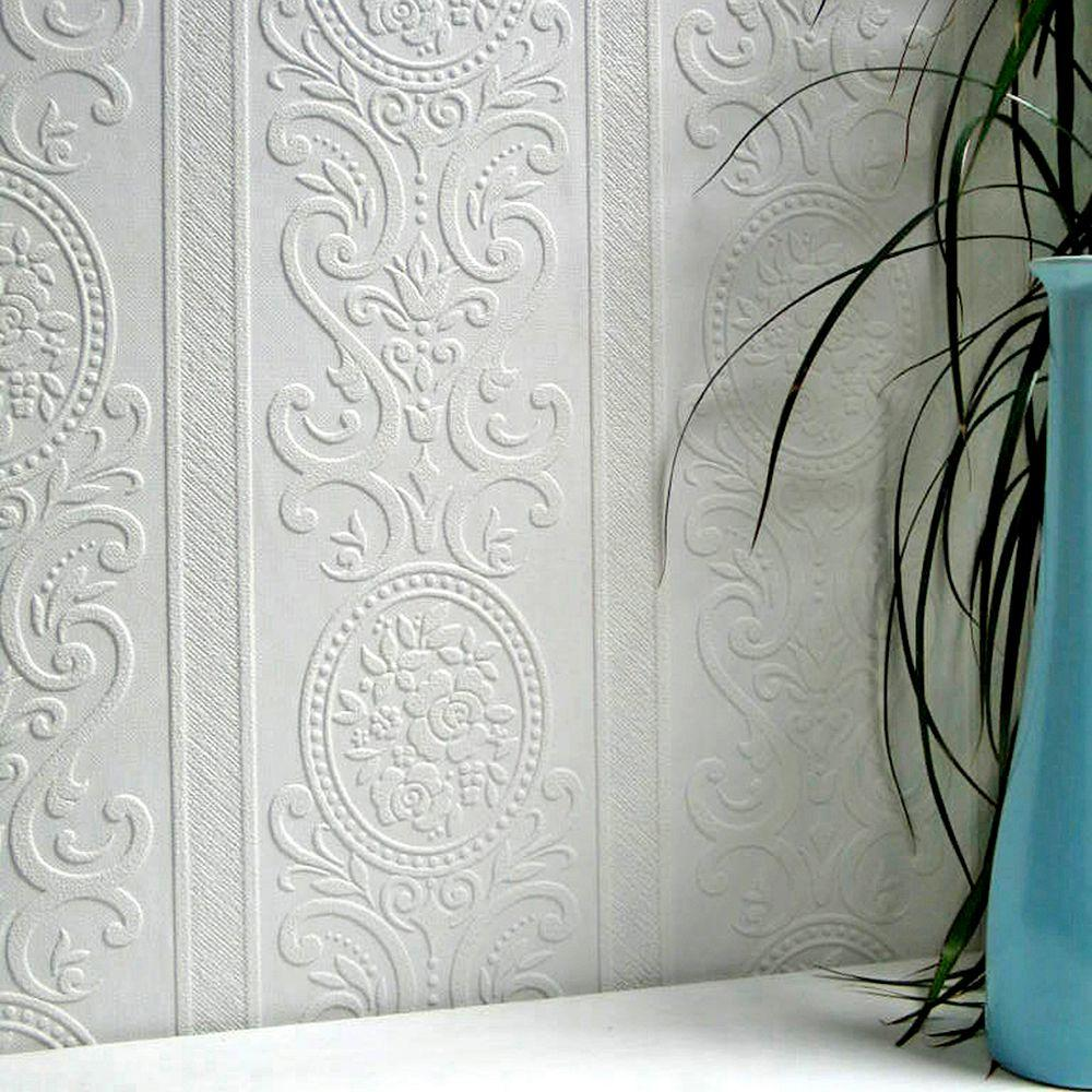 Delightful Louisa Paintable Textured Vinyl Wallpaper Sample