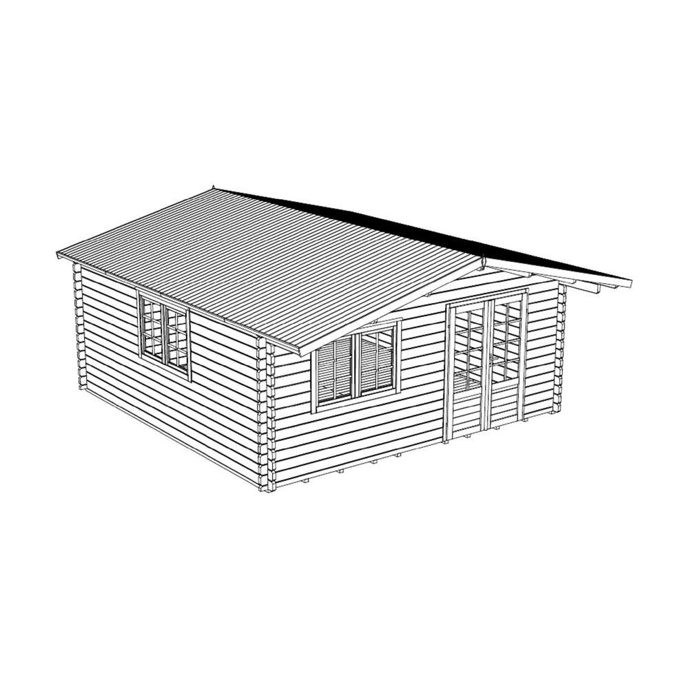 16 ft. 4 in. x 16 ft. 4 in. Wood Log Garden Hobby Workshop Head Office DIY Building Kit