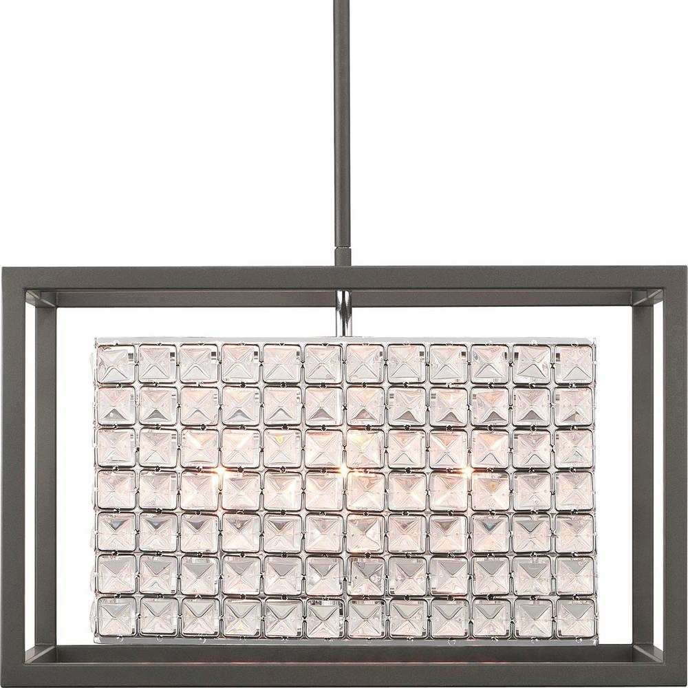 Home Decorators Collection Shimmer Collection 4-Light Square Graphite Pendant with Clear Crystal Shade