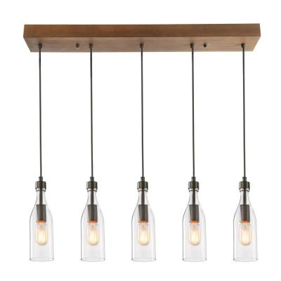 5-Light Rustic Bronze Chandelier with Clear Glass Bottle Shade