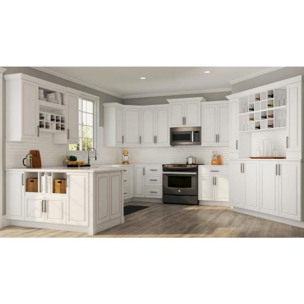 Hampton Bay Hampton Assembled 36x36x12 In Wall Kitchen Cabinet In Satin White Kw3636 Sw The Home Depot
