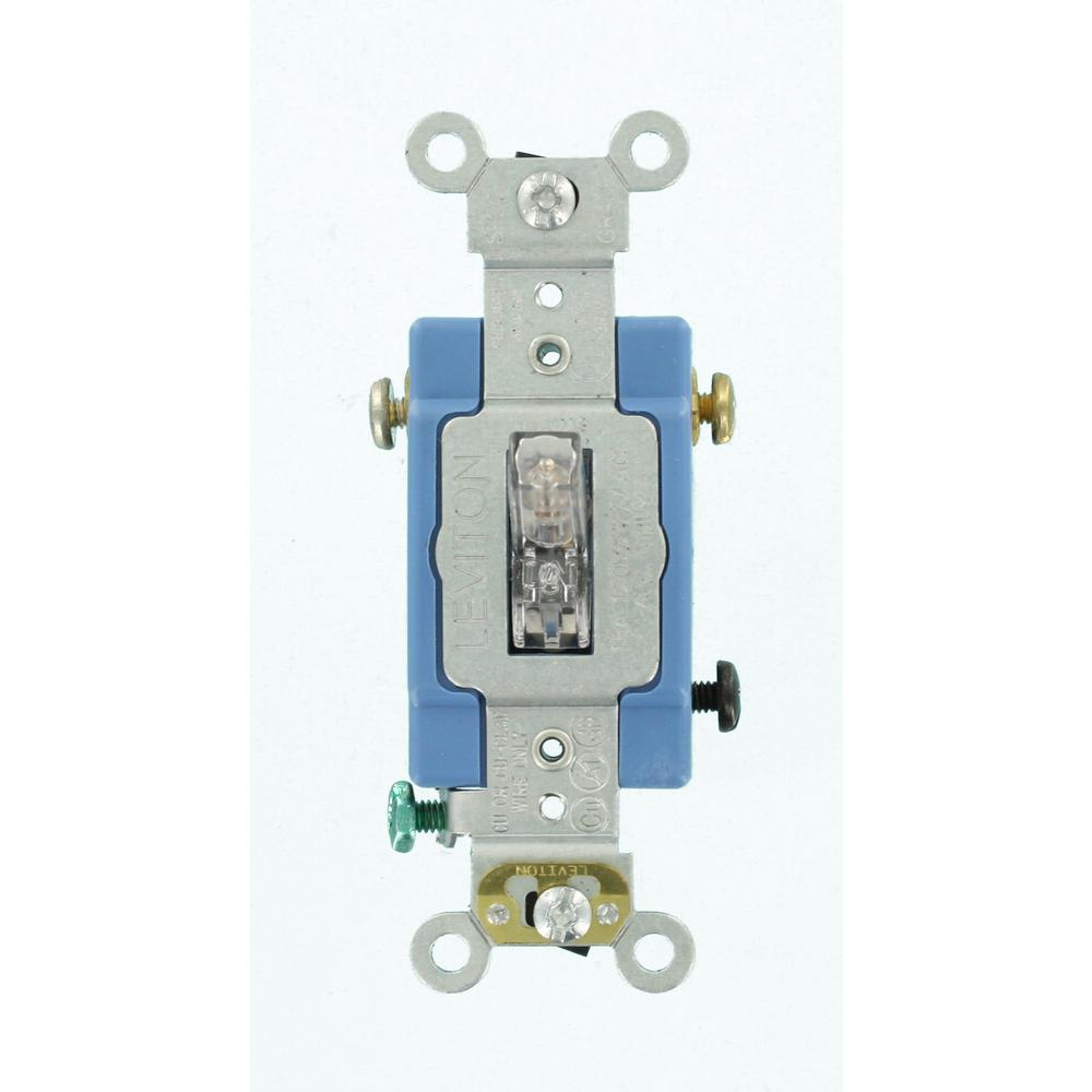 Leviton 15 Amp Duplex Style Single Pole 3 Way Ac Combination Switch Double Industrial Grade Heavy Duty Pilot Light Toggle