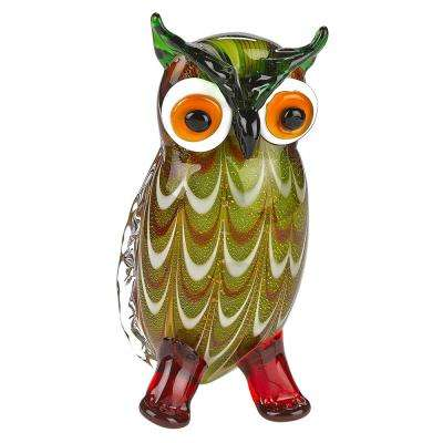 Murano Style Art Glass 8 in. Tall Owl