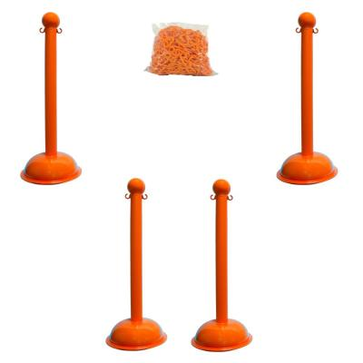 Heavy-Duty Safety Orange Stanchion and Chain Kit