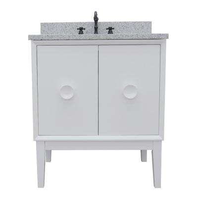 Stora 31 in. W x 22 in. D Bath Vanity in White with Granite Vanity Top in Gray with White Oval Basin
