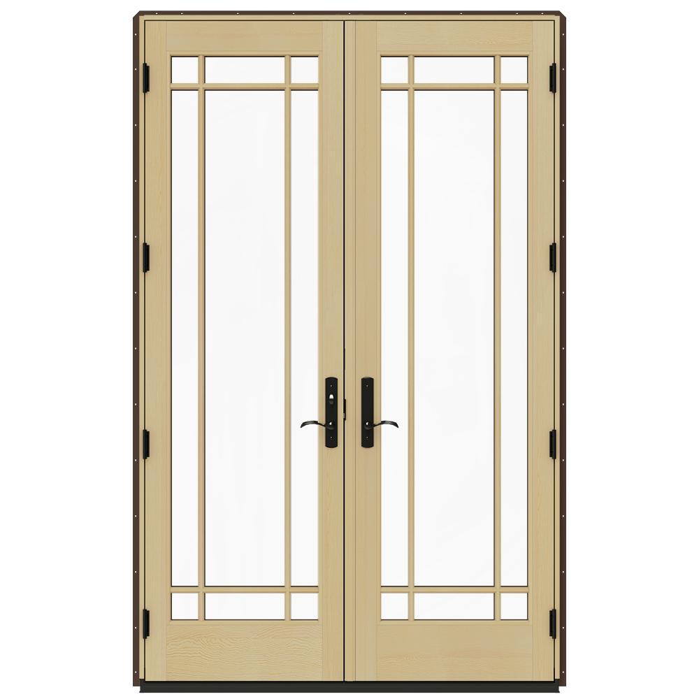 Jeld wen 60 in x 96 in w 4500 dark chocolate prehung for Prehung patio doors