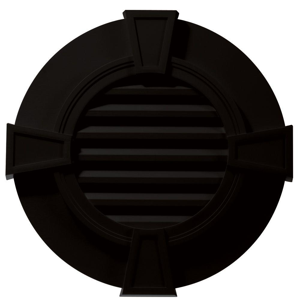 Builders Edge 30 in. Round Gable Vent with Keystones in Black