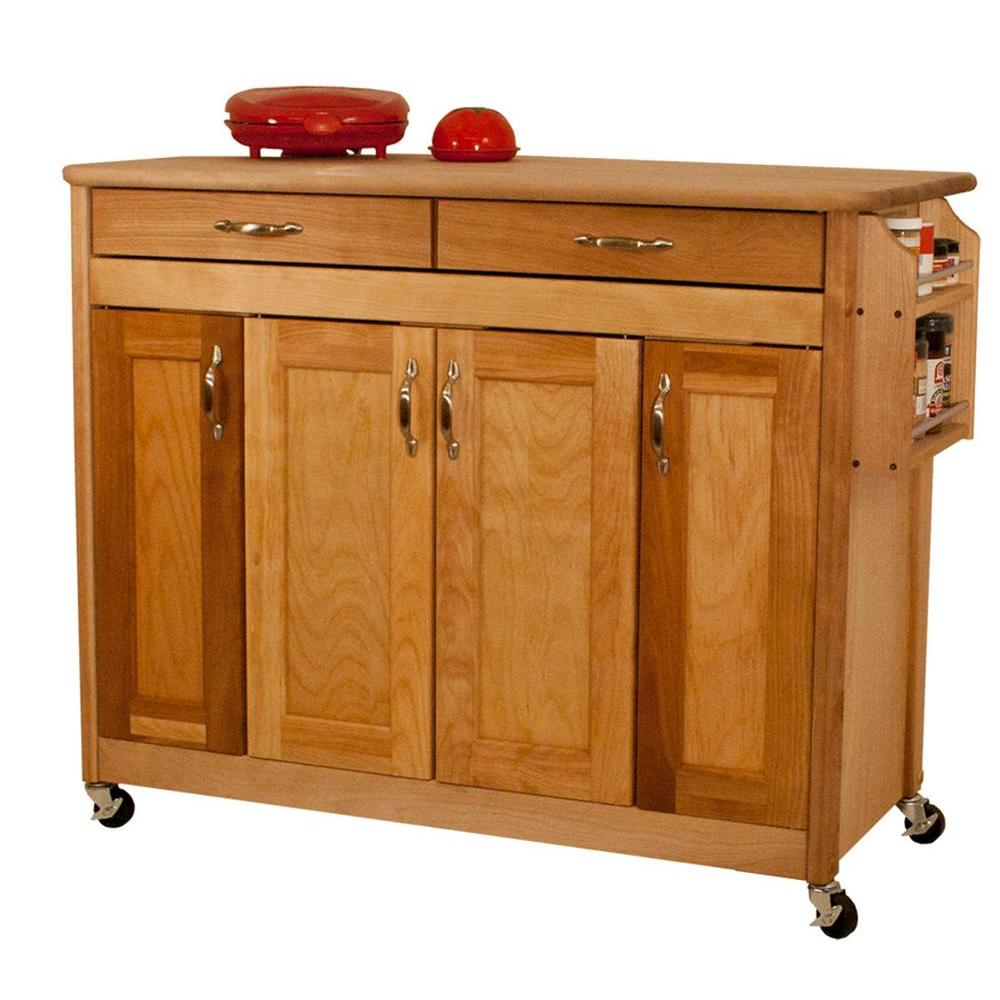 Catskill Craftsmen Natural Kitchen Cart with Butcher Block Top-53220 - The Home Depot
