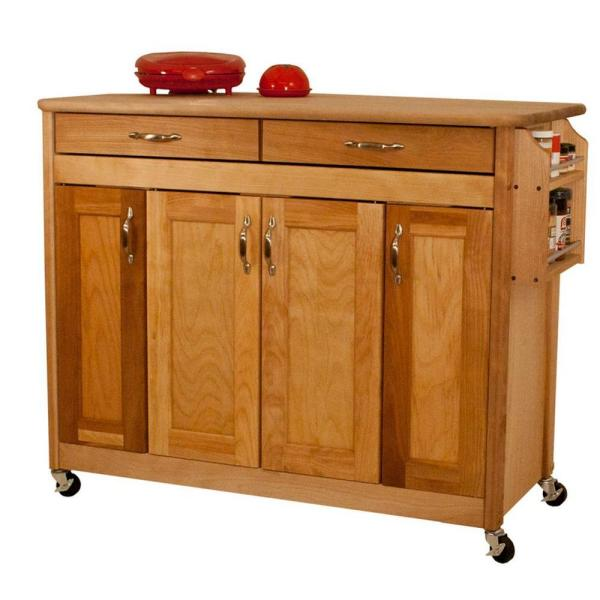 Catskill Craftsmen Natural Kitchen Cart with Butcher Block Top 53220 - The Home Depot