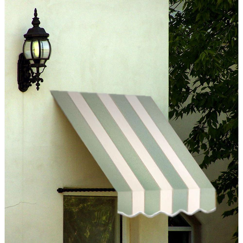 AWNTECH 14 ft. Santa Fe Twisted Rope Arm Window Awning (44 in. H x 24 in. D) in Sage/Linen/Cream Stripe
