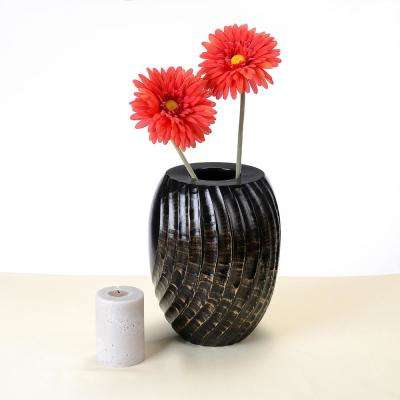 10 in. Tall Handmade Decorative Tapered Mango Wood Swirl Vase in Black