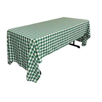 60 in. x 120 in. White and Hunter Green Polyester Gingham Checkered Rectangular Tablecloth