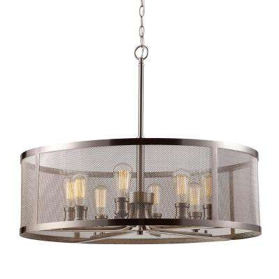 Mesh 8-Light Brushed Nickel Pendant