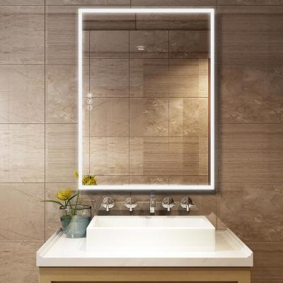 36 in. W x 48 in. H Frameless Rectangular LED Light Bathroom Vanity Mirror in clear