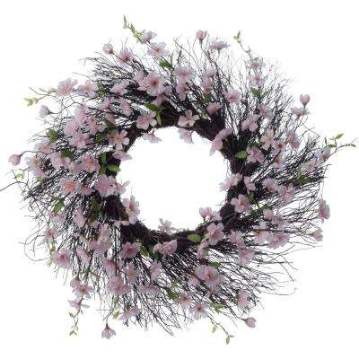 Spring Collection 26 in. Pink Apple Blossom Wreath (1-Pack)