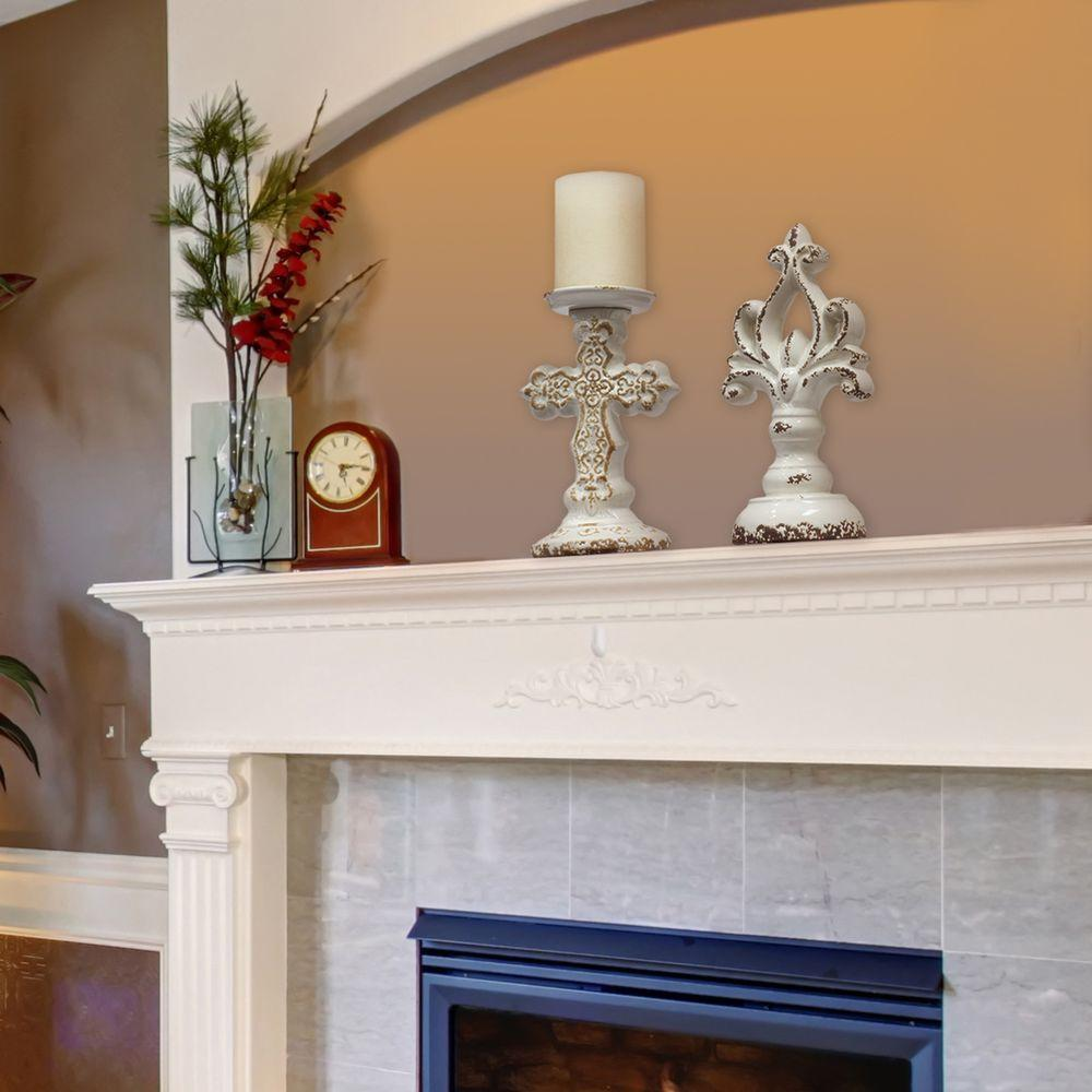 8 in. Worn White Ceramic Cross Pillar Candle Holder