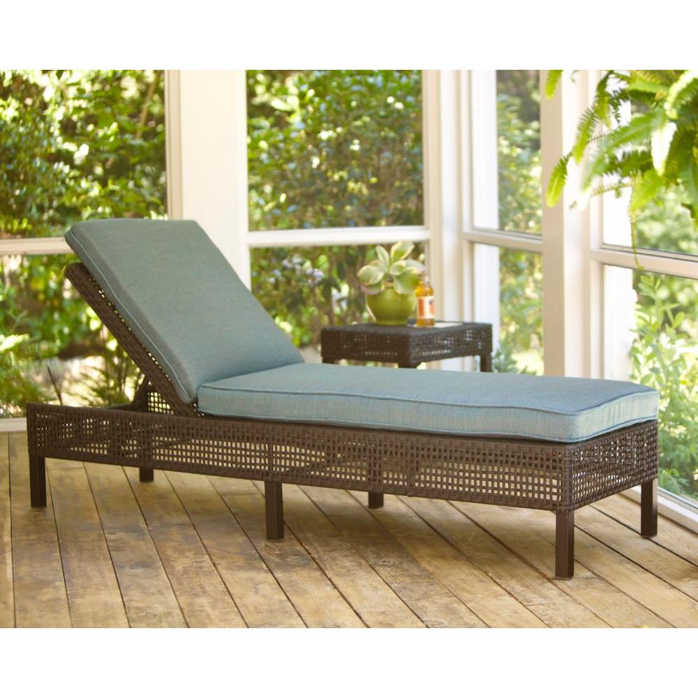 Hampton bay fenton adjustable patio chaise lounge with for Bay window chaise lounge