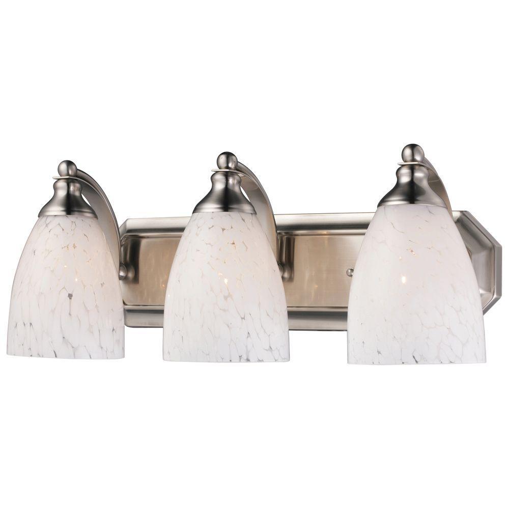 Titan Lighting 3-Light Satin Nickel Vanity Light with Snow White Glass
