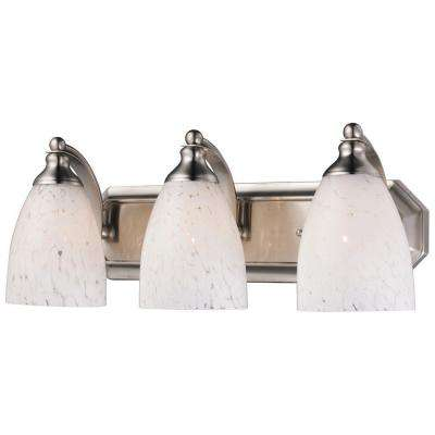 3-Light Satin Nickel Vanity Light with Snow White Glass