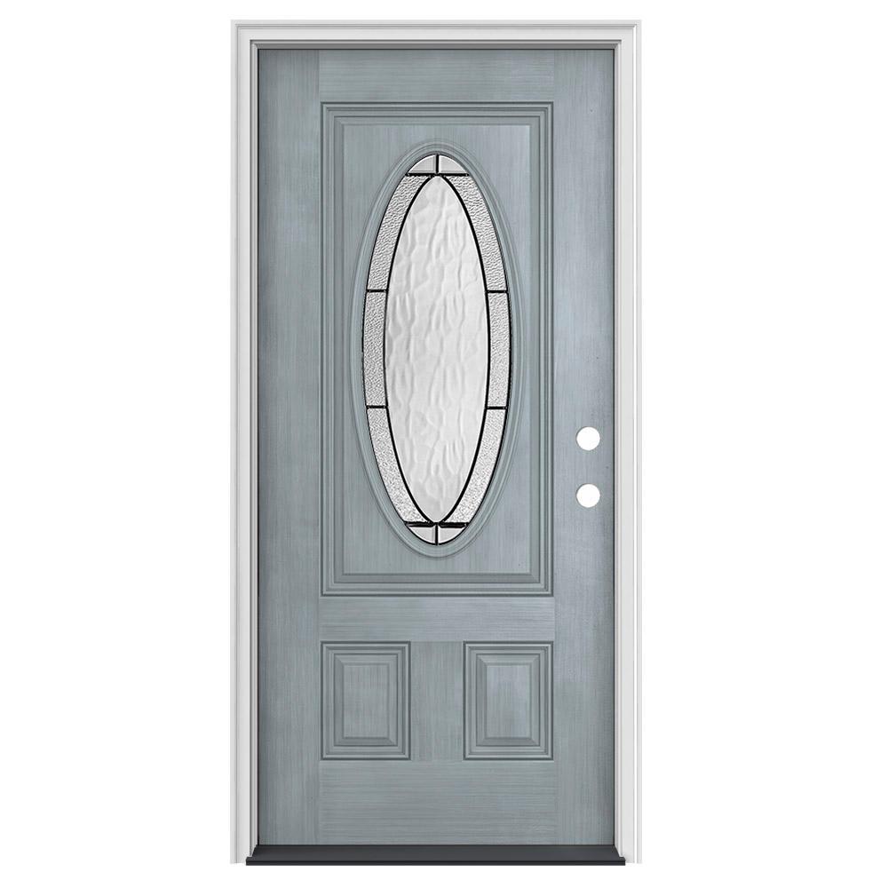 36 in. x 80 in. 3/4 Oval Lite Wendover Stone Stained Fiberglass Prehung Left-Hand Inswing Front Door