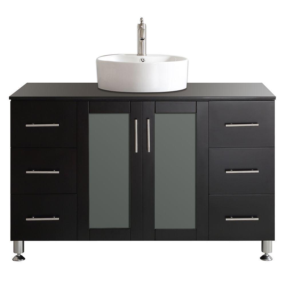 Vinnova Tuscany 48 In W X 22 In D X 30 In H Vanity In Espresso With Glass Vanity Top In Black