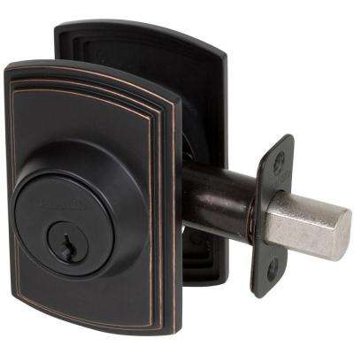 Italian Collection Single Cylinder Edged Bronze Deadbolt