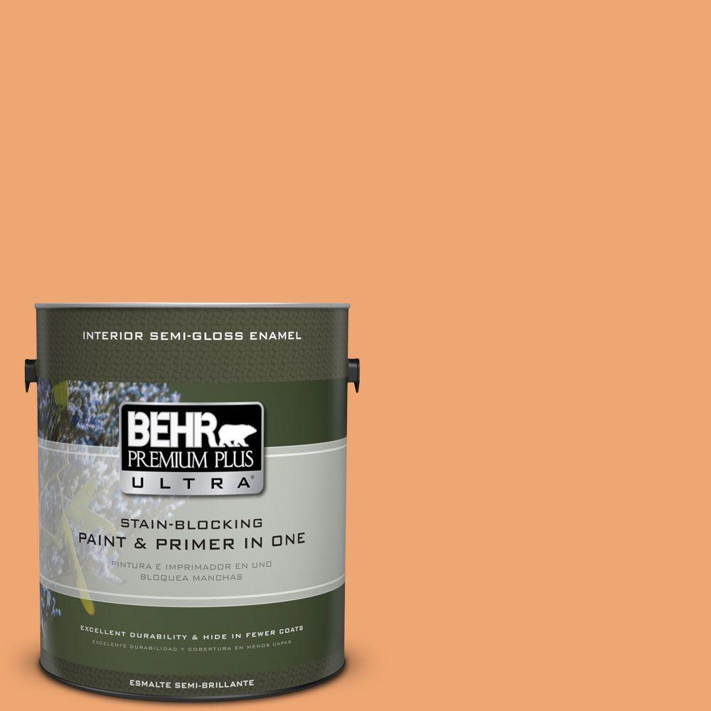 1 gal. #HDC-SP16-04 Apricot Jam Semi-Gloss Enamel Interior Paint