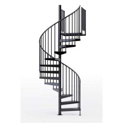 Condor Black 60 in. (5 ft. 0 in.) Wide 12 Treads with Two 36 in. H Platform Rails Spiral Stair Kit