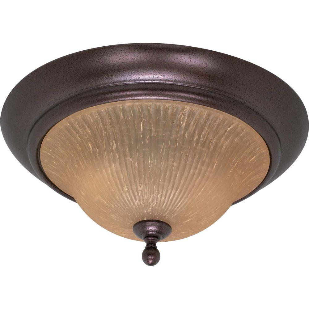 2-Light Copper Bronze Flush Mount with Champagne Linen Washed Glass