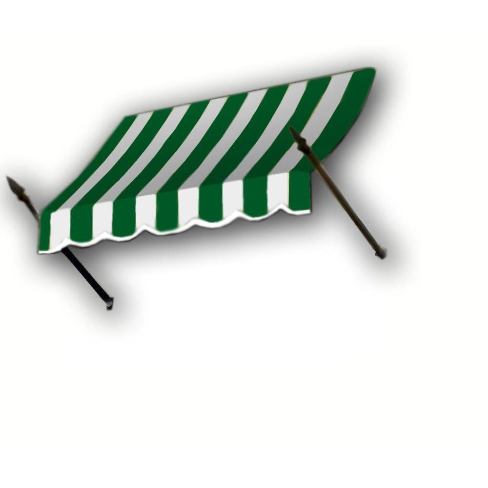 AWNTECH 4 ft. New Orleans Awning (31 in. H x 16 in. D) in Forest/White Stripe
