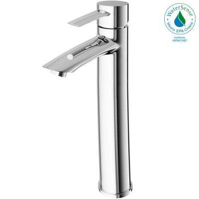 Single Hole Single-Handle Low-Arc Vessel Bathroom Faucet in Chrome