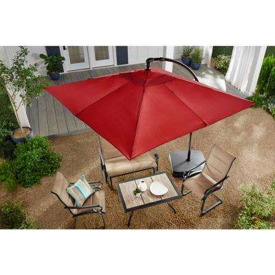 Square Aluminum Cantilever Offset Patio Umbrella In Chili