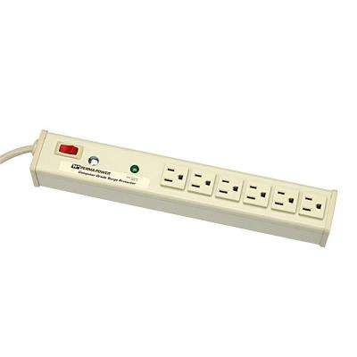Perma Power 6-Outlet 15-Amp Computer Grade Surge Strip with Lighted On/Off Switch, 15 ft. Cord