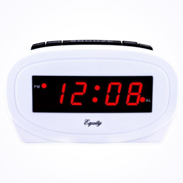 Digital 0.60 in. Red LED Electric White Alarm Table Clock