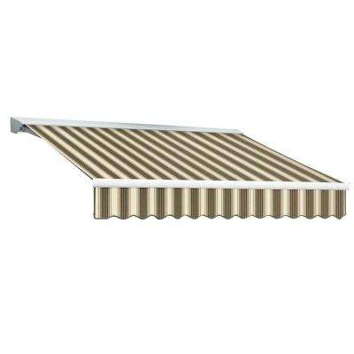 14 ft. DESTIN EX Model Left Motor Retractable with Hood Awning (120 in. Projection) in Brown and Tan Multi Stripe