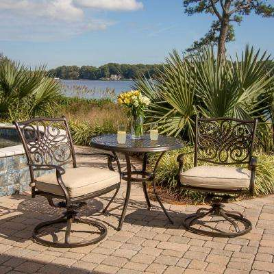Traditions 3-Piece Patio Bistro Set with 2-Cast Aluminum Swivel Rockers with Beige Cushions and 32 in. Round Table
