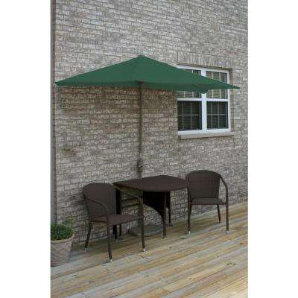 Terrace Mates Genevieve 5-Piece Java Patio Bistro Set with 7.5 ft. Green Olefin Half-Umbrella