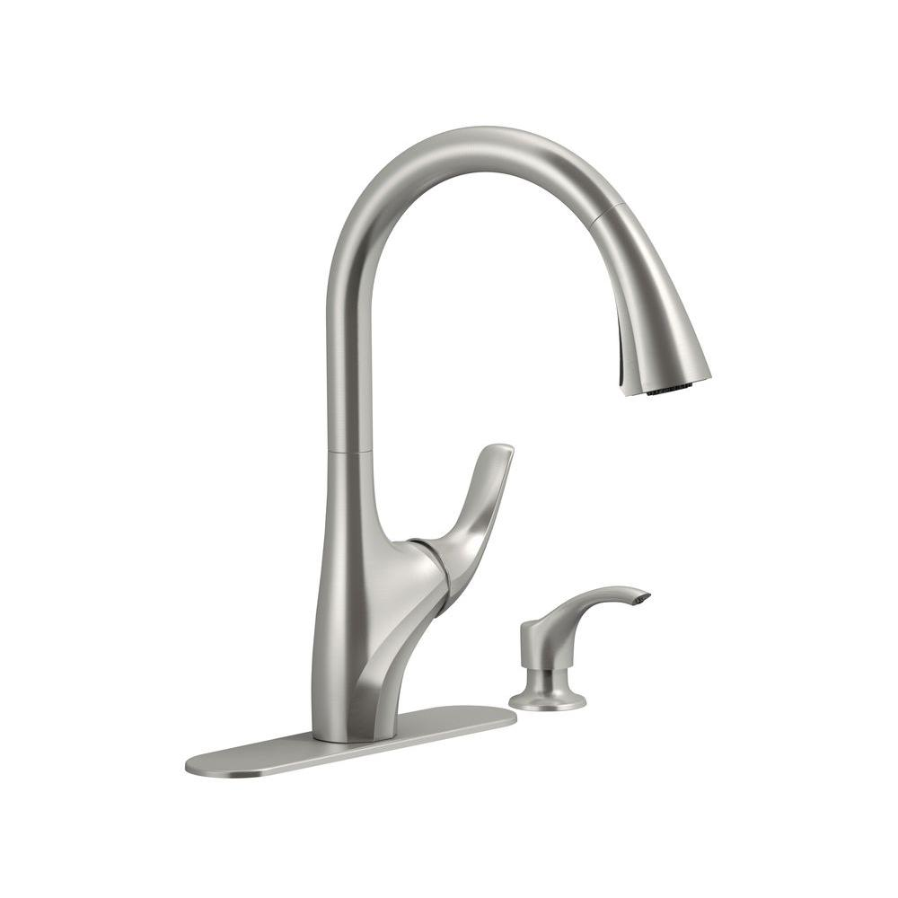 Kohler Trielle Single Handle Pull Down Sprayer Kitchen Faucet In Vibrant Stainless