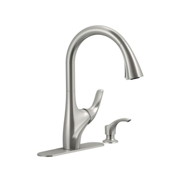 Trielle Single-Handle Pull-Down Sprayer Kitchen Faucet in Vibrant Stainless