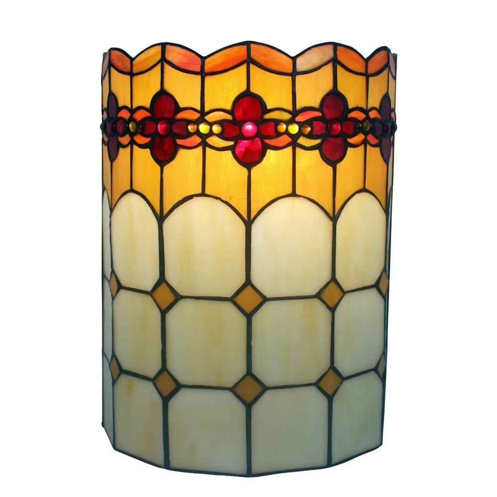 Amora Lighting 2 Light Tiffany Style Geometric Wall Sconce