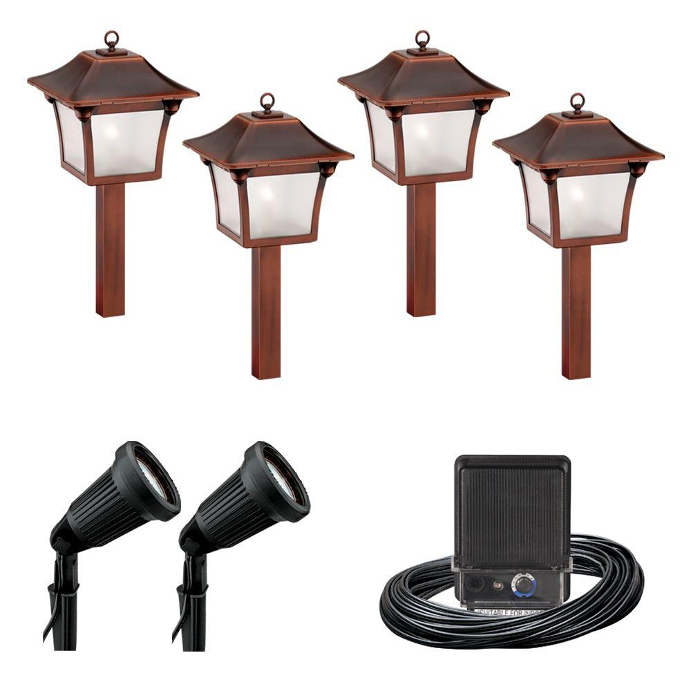 Malibu 6-Light Outdoor Black and Tarnished Copper Colonial Light Kit