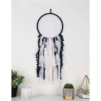 Navy White Medium Handmade Boho Feather Dreamcatcher