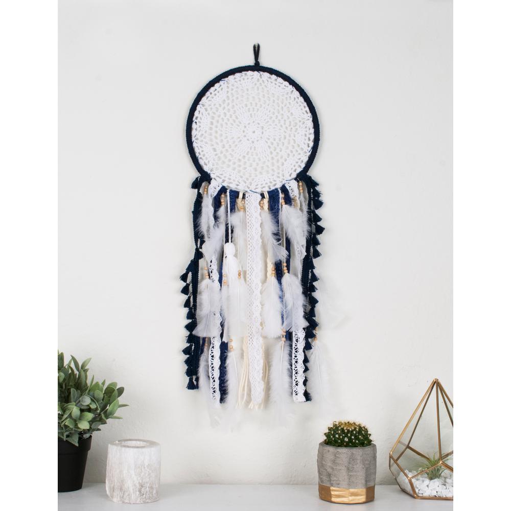 Navy White Medium Handmade Boho Feather Dreamcatcher