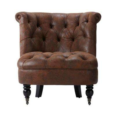 Flanders Brown Faux Suede Accent Chair