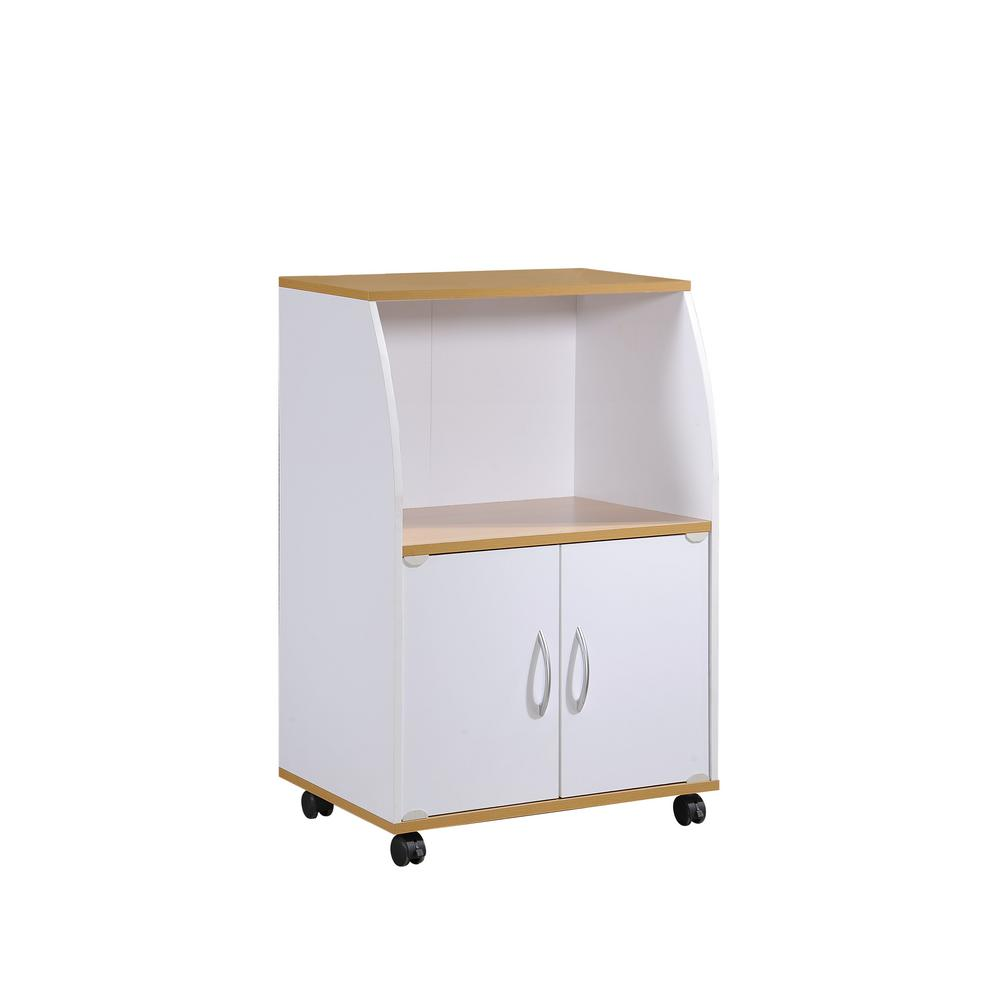 Kitchen Cabinets On Wheels: Rolling Microwave Cart White Shelf Cabinet Locking Casters