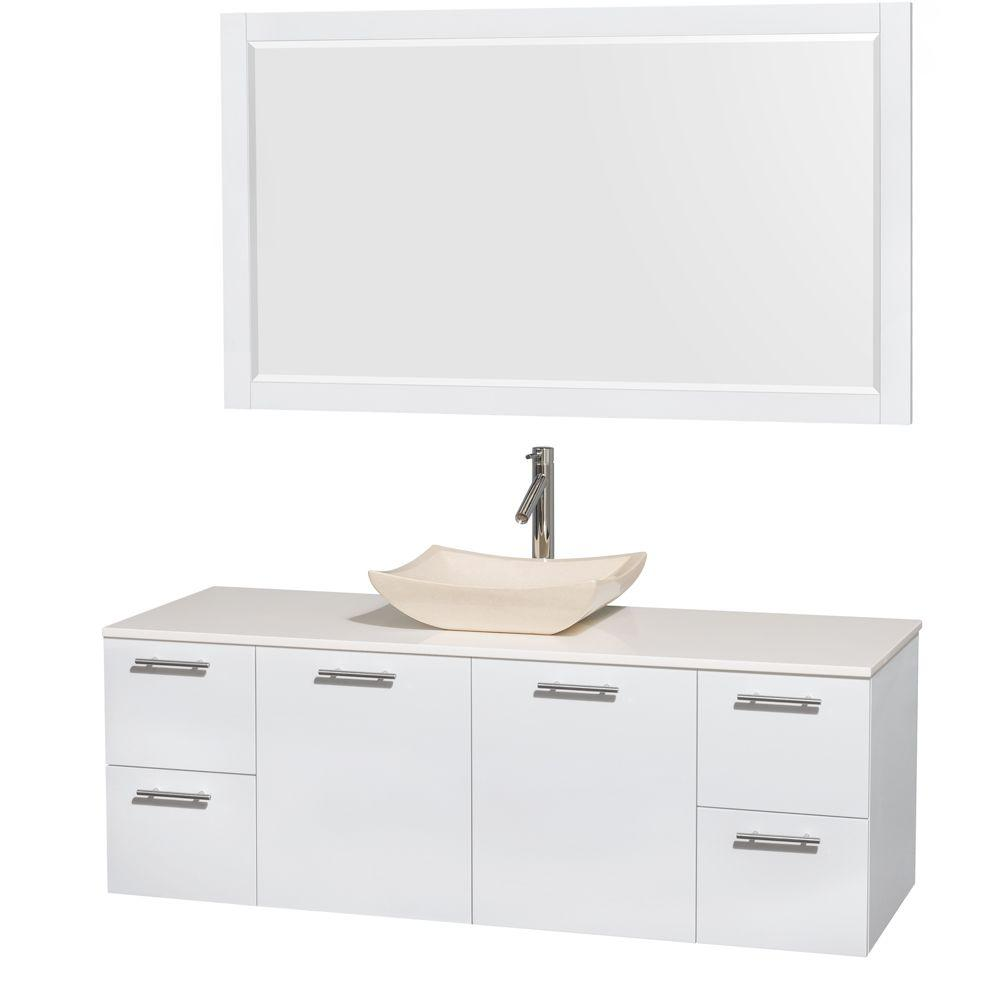 Amare 60 in. Vanity in Glossy White with Solid-Surface Vanity Top