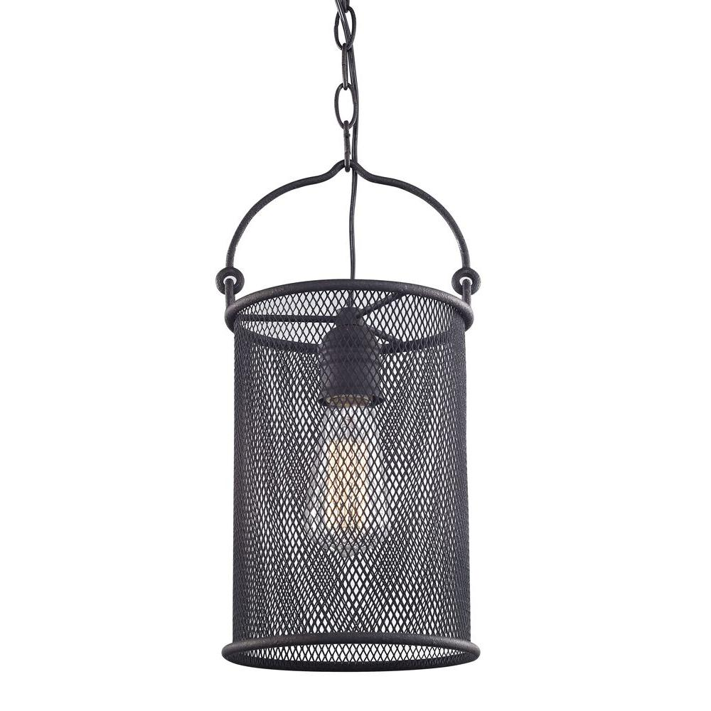 Fifth and Main Lighting 1-Light Textured Bronze Mini Pendant with ...